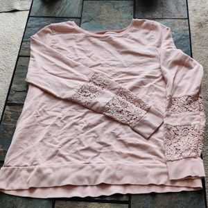 Lucky Lotus Basic Sweater in Blush Lace Sleeves XL